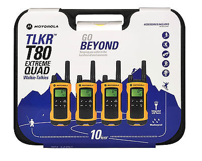 Motorola TLKR T80 extreme QUAD license free walkie talkie *BRAND NEW PRODUCT*