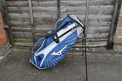 Mizuno Aerolite Blue White Lightweight Carry Stand Golf Bag 7-Way 6 Pockets USED