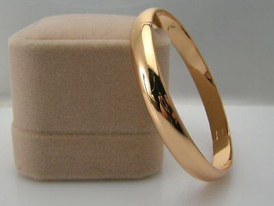 Ladies 14ct 9ct Yellow gold GF High Polished solid bangle bracelet 5mm 60mm
