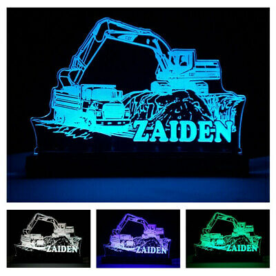 Truck Digger LED Night Light Boy Girl Toy Birthday Gift Custom Name Remote