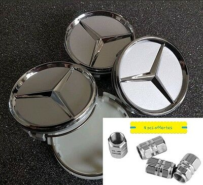 4X logo mercedes gris chrome 60 mm centre embleme badge roue jante moyeu caps