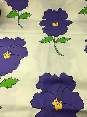 VTG Floral Drapery Fabric 3 Yards Large Floral Make Tote Bags Pillows Retro Mod