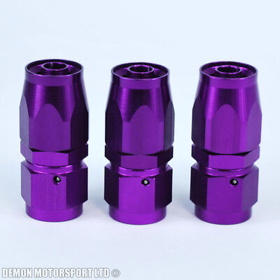 AN6 -6 6AN Straight Hose Fitting (3 Pack) JIC - Braided Fuel Oil Hose Purple