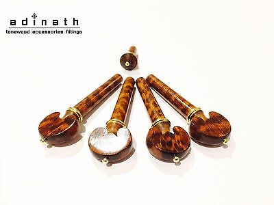 Snakewood Violin Pegs and End Pin set  Mastergrade Heart Pegs with Gold Accent