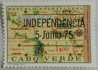 118.cape Verde ($1.00) 1975 Used Stamp Maps, Overprint Independence  .