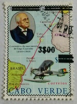 118.cape Verde ($3.00) Used Stamp Maps, Aviation, Planes,surcharged