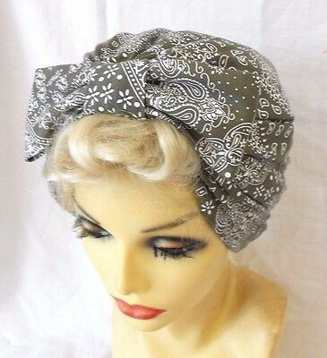 VINTAGE INSPIRED 1940's 50's STYLE KHAKI GREEN TURBAN CLOCHE HAT LINDYHOP WW11