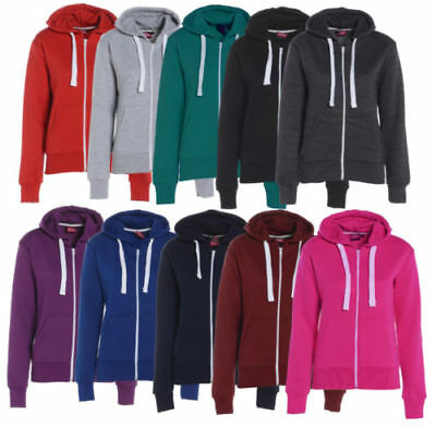 Womens Zip Up Hooded Jacket Ladies Girls Plain Coloured Hoodie Sweatshirt Tops