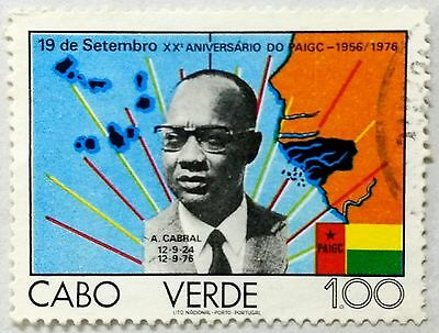 118.cape Verde (1.00) 1976 Used Stamp Paigc, Flags, A.cabral