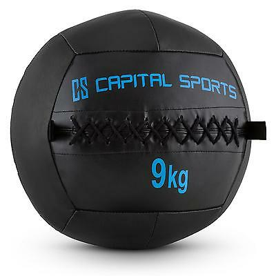 Capital Sports Wall Ball 9Kg Kunstleder Schwarz Medizinball Fitnessball Train