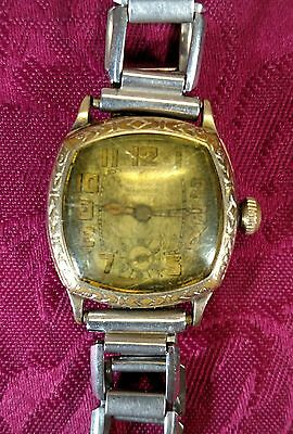 Vtg Men's Art Deco WARWICK 15 Jewels MECHANICAL Watch Gold Tone FOR REPAIR