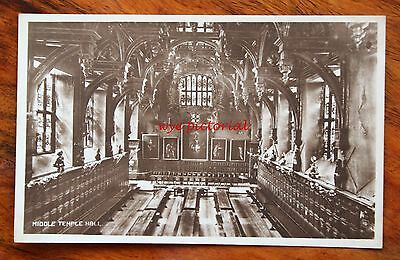 Early Photo Postcard Rp London Middle Temple Hall Interior Unused