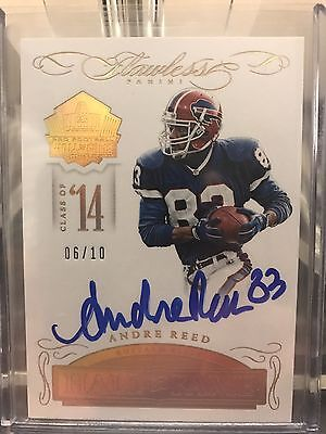 Andre Reed Buffalo Bills Flawless Hall Of Fame Autograph Gold 6/10!