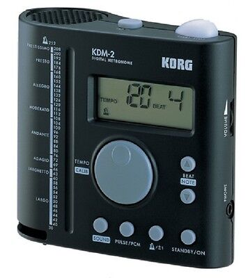 New Korg KDM2 Metronome Black with Cylindrical Resonator Speaker