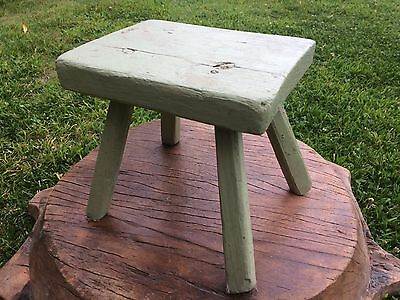 Old Vintage Painted Sage Green Milking Stool Country farmhouse kitchen