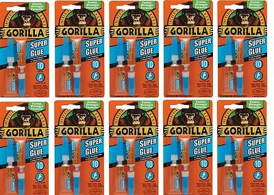 10X Gorilla Super Glue Tough Bond 2 X 3G Tubes Anti Clog Cap