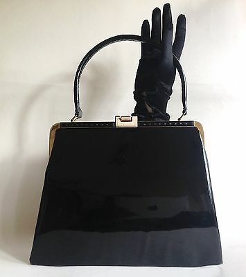 Freedex Black Patent 1960s Vintage Handbag Kelly Bag With Red Fabric Lining
