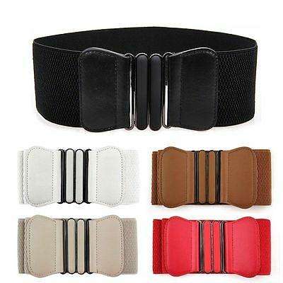 New Fashion Womens Ladies Faux Leather Wide Elastic Buckle Thin waist belt
