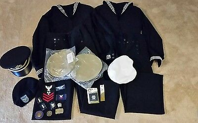Mixed Lot Of Vintage US Army/ Navy Military Uniforms, Patches, Hat, Beret