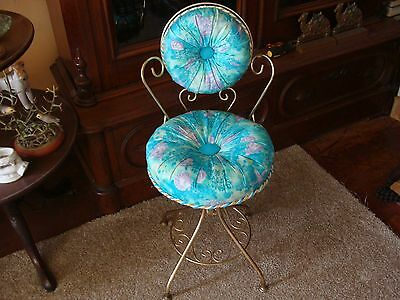 Vintage Hollywood Regency Metal Vanity Chair Stool Turquoise Upholstery Gilt MCM