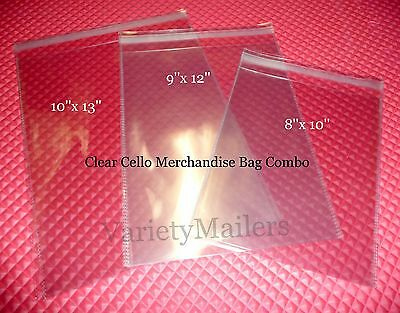 300 Clear Cello Merchandise / Storage Bag Combo  8x10  9x12  10x13  Self-Sealing