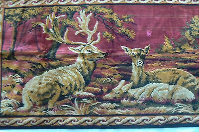 Vintage Tapestry Deer Rug Wall Hanging Buck Doe Fawn Made In Italy FREE US SHIP