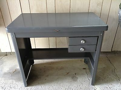"Mid Century Industrial Modern Cole Steel HTF  2-Drawer Grey Small Desk 27"" tall"
