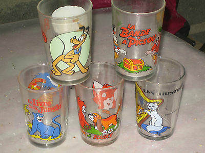 Lot 5 Verres A Moutarde   Walt Disney