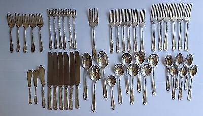 Vinaget 1881 ROGERS  A1 CHIPPENDALE PATTERN 49 Pieces Silverplated  Flatware