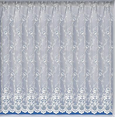 Luxury White Lace Net Curtains,Embroidered,Assorted Drops,Sold Buy The Metre.