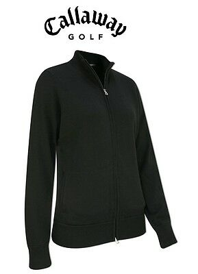 New Ladies Callaway Black Merino Windstopper Cardigan/Jacket Golf Size: M L & XL