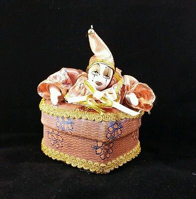 Porcelain Harlequin Pierrot Clown Jester Doll Gold Soft Jewelry Box Mardi Gras