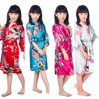 Kids Girl Boy Children Kimono Dressing Gown Bath Robe Homewear Sleepwear Pajamas