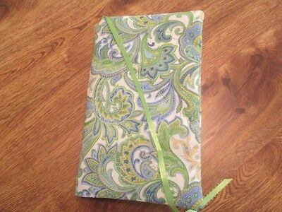 Lime Green Paisley Print Handmade Quilted Reg Size Paperback Book Cover