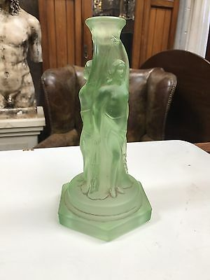Art Deco Frosted Glass Candlestick. Open To Offers.