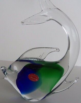 Vintage Murano Art Glass Fish Tail Up With Tag Made in Italy