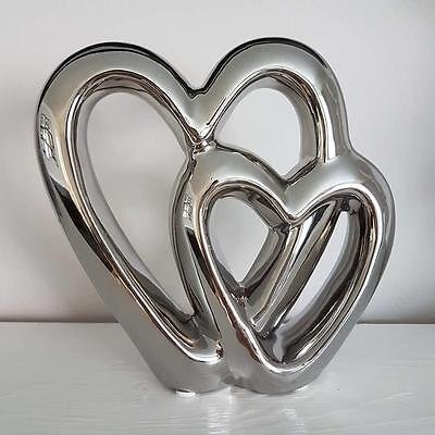 Silver Double Heart Free Standing Ornament Valentine Love Wedding Gift Boxed