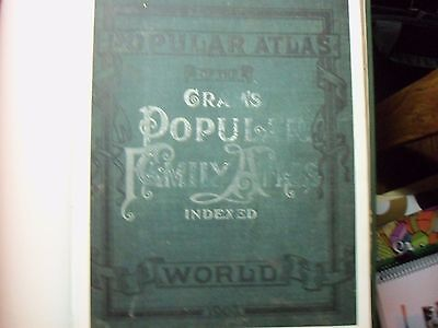"CRAM"" s POPULAR FAMILY ATLAS OF THE WORLD - INDEXED- 1903"