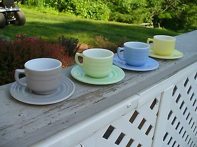 Four Sets of Moderntone Child Cups and Saucers Gray Yellow Green Gray