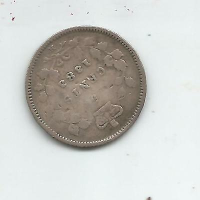 Very Rare And Low Mint 1883 Victoria Sterling Silver 5 Cent- Free Shipping