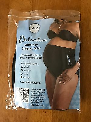 Belevation Maternity Support Brief Underwear Panties Pregnancy XL Black NWT