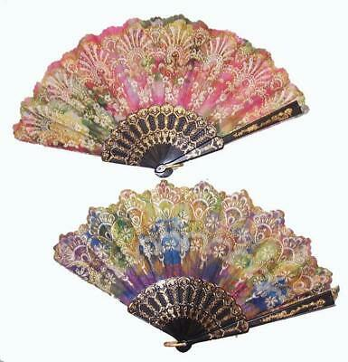 12 GLITTER RAINBOW HAND HELD 9 INCH WOMEN FAN #gi503 accessories new pocket fans