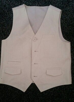 Lovely M & S Autograph Boys Linen Cream / Beige Waistcoat Age 6 years Wedding