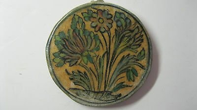 ANTIQUE 19c PERSIAN POTTERY ROUND TILE FLORAL