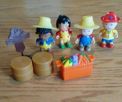"""4 CAILLOU Figures 2.5"""" Farmer & Fireman Caillou, Clementine and Sarah poseable"""