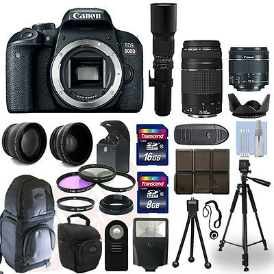Canon EOS 800D DSLR Camera + 5 Lens Kit: 18-55mm STM + 75-300mm + 500mm and More