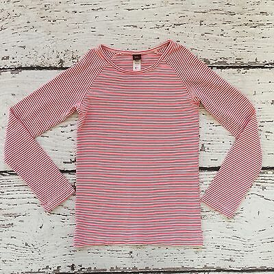 Tea Collection Girls Pink Coral White Stripe Cotton Long Sleeve Shirt  L 8-10