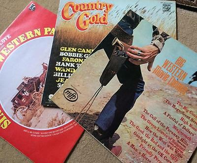 3 Various Country Vinyl Lps-Country Gold-Big Western Themes & Sing Along Western