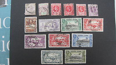 Sierra Leone selection of 15 used good stamps QV to KG6 as shown