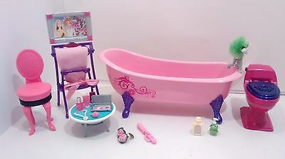 Barbie GLAM Pink Bathroom Bathtub Toilet for My Dream House Accessories Makeup